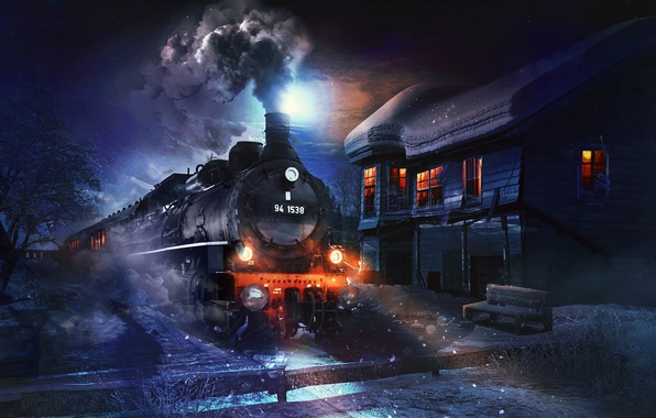 Picture winter, snow, night, house, the engine, locomotive