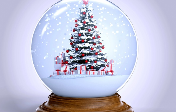 picture snow tree ball new year christmas winter snow