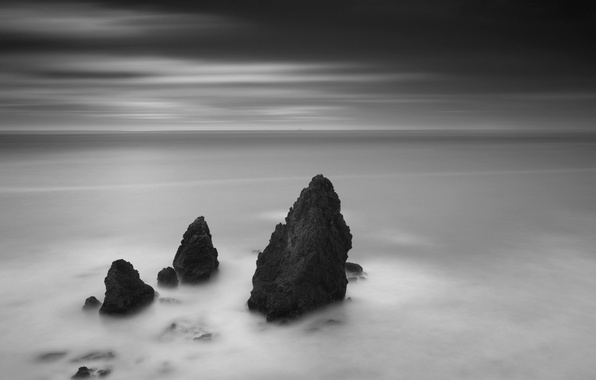 Picture rocks, black and white, horizon, 156