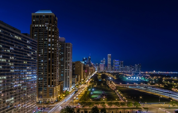 Picture road, lights, street, building, Chicago, Il, night city, Chicago, Illinois, Harbor Square