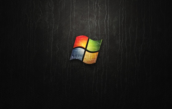 Picture black, logo, leather, Windows, Microsoft, Windows 7, abstract