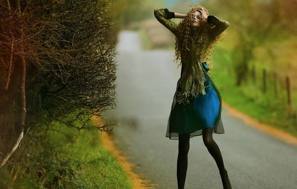 Picture road, girl, fantasy, art, Agnieszka Lorek, Blue dress