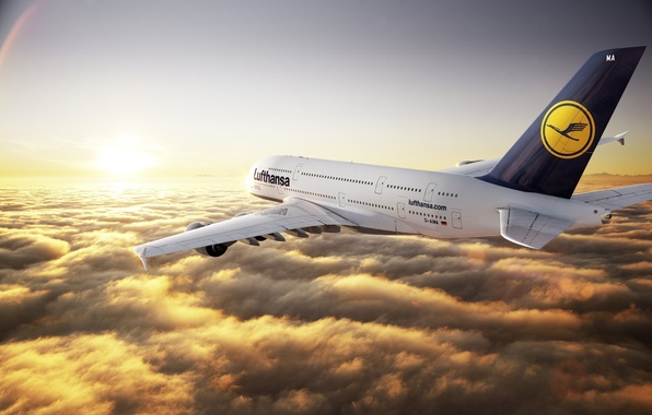 Picture Sunset, The sun, The sky, Clouds, The plane, Horizon, Liner, Flight, Rays, Height, A380, Lufthansa, …