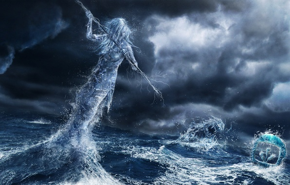 Picture sea, girl, clouds, storm, monster, spirit, art, spear