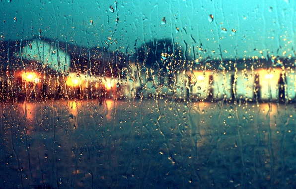 Picture the sky, glass, water, clouds, lights, house, rain, window, drops