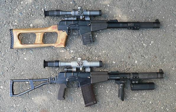 Picture asphalt, weapons, optics, rifle, Vintorez, VSS Val