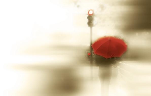 Picture girl, style, umbrella, traffic light