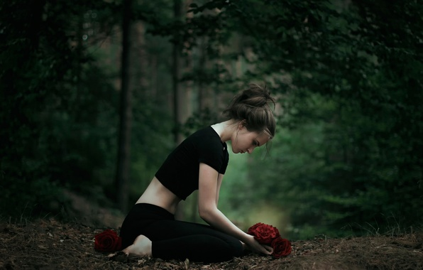 Picture forest, girl, roses, buds, Vicki, The Gift