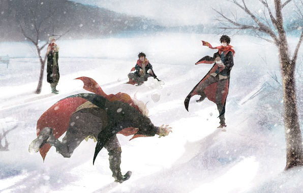 Picture winter, snow, guys, Harry Potter, fan art, looters, snowballs