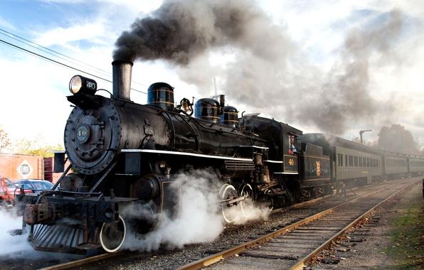 Picture road, rails, the engine, cars, iron, composition, Steam train, railways, locomotive