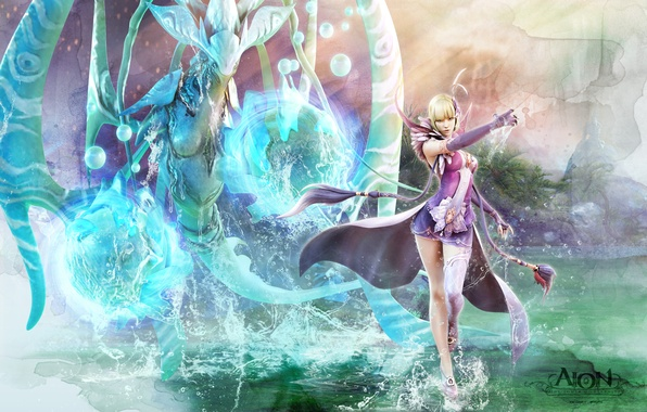 Picture water, girl, magic, being, MAG, aion