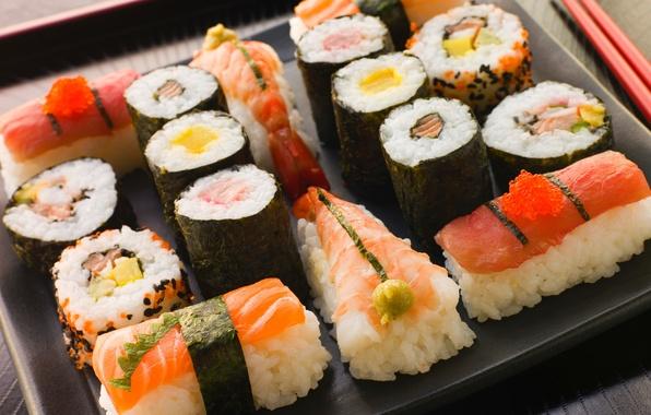 Picture sticks, Japan, Japan, figure, slices, sushi, cutting, rolls, shrimp, seafood, Japanese cuisine, red caviar, serving, …