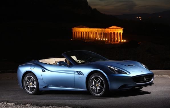 Picture Auto, Night, Blue, Machine, Convertible, Ferrari, California, Sports car, Side view