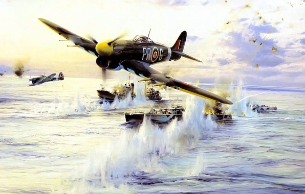 Picture sea, the explosion, attack, figure, ships, art, Taylor, the fire, plaque, fighter-bomber, Royal air force, …
