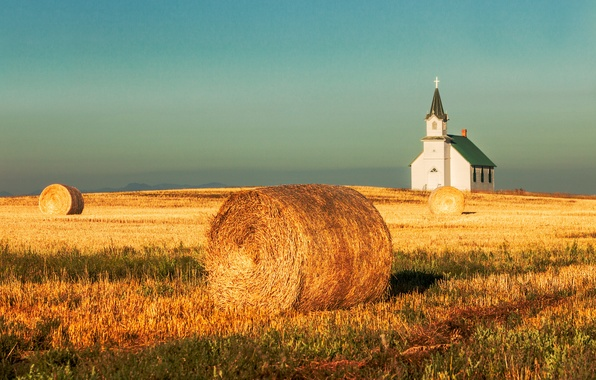 Picture field, the sky, mountains, harvest, hay, Church