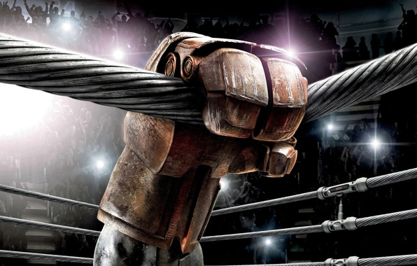 Picture fiction, robot, hand, Boxing, hall, the ring, ropes, glove, tribune, fans, the audience, Real steel, …