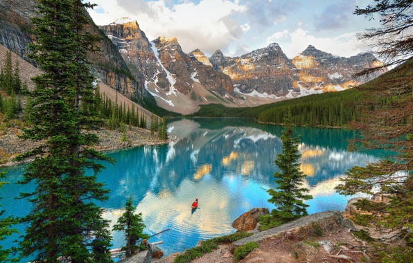 Picture trees, mountains, lake, stones, rocks, boat, Canada, Alberta, Canada, Moraine Lake, Banff