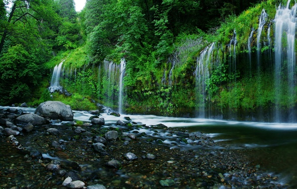 Picture water, stones, waterfall, USA, USA, nature, CA, California, trees., if, waterfals, Mossbrae