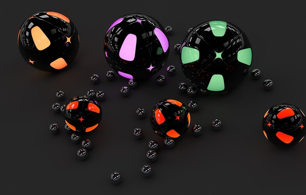 Picture surface, reflection, balls, neon, backlight, gloss, grey background, sphere
