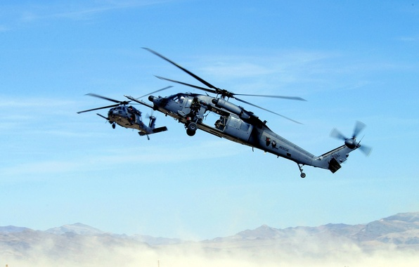 Picture mountains, desert, helicopter, machine gun, rescuers, blades, THE MH-60K, black hawk