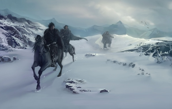 Picture winter, snow, mountains, birds, people, horses, horse, art, A Song of Ice and Fire, A ...
