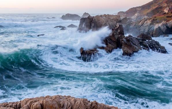 Picture wave, rocks, CA, Pacific Ocean, California, The Pacific ocean, Big Sur, Big Sur, Garrapata State …