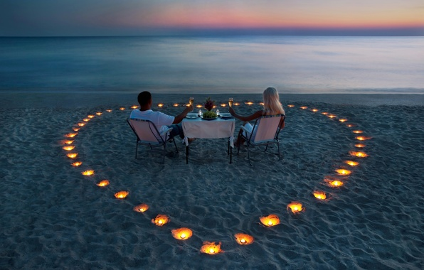 Picture sea, girl, romance, shore, the evening, candles, blonde, pair, guy, table, dinner