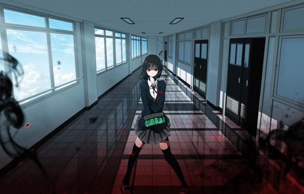 Wallpaper Anime Girls Black Hair Indoors Black Eyes
