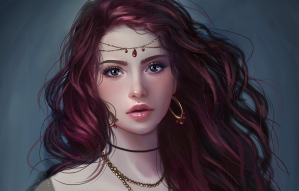 Picture look, girl, decoration, face, background, hair, earrings, art