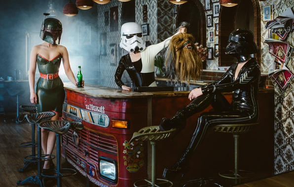 Picture Star Wars, Darth Vader, head, Chewbacca, Stormtrooper, Boba Feet