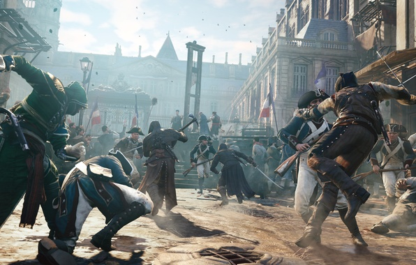 Picture the city, Paris, soldiers, France, assassins, Assassin's Creed Unity, kill