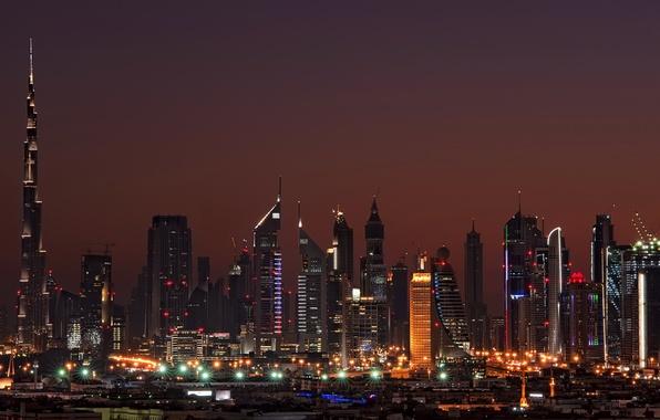 Picture night, home, Dubai, Dubai, night, Emirates, high-rise buildings., cities, Arab, Arab. Emirates
