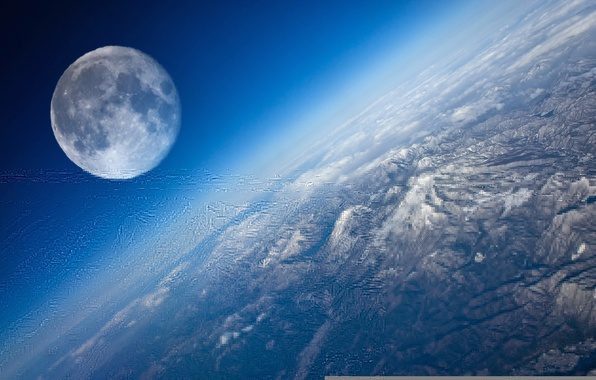 Picture space, moon, planet earth, satellite