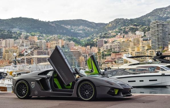 Picture grey, yachts, pier, lamborghini, grey, tuning, aventador, lp700-4, Lamborghini, aventador