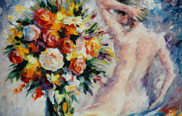 Picture girl, flowers, back, bouquet, hands, vase, painting, Leonid Afremov