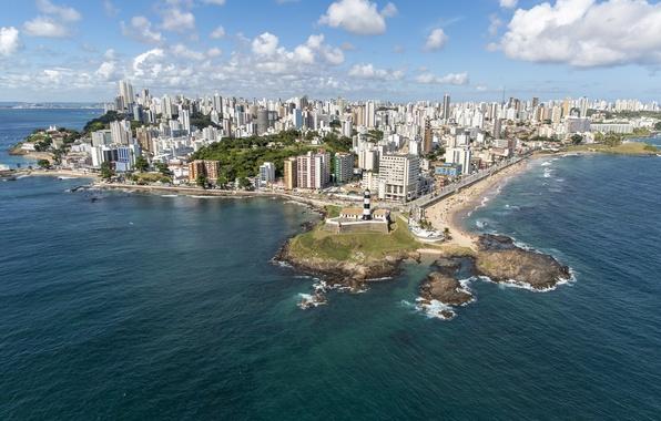 Picture sea, beach, beach, Brazil, sea, Brazil, Salvador, Salvador, Bahia, Baja, Barra Lighthouse, Barra's Lighthouse, Farol …
