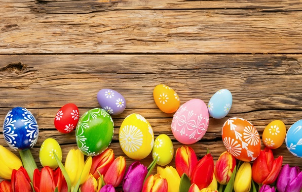 Photo wallpaper flowers, eggs, spring, Easter, tulips, flowers, tulips, spring, Easter, eggs, decoration, Happy