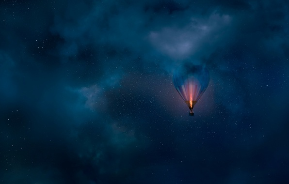 Picture the sky, balloon, stars