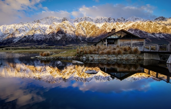 Picture mountains, reflection, New Zealand, New Zealand, Queenstown, Lake Wakatipu, Queenstown, lake Wakatipu