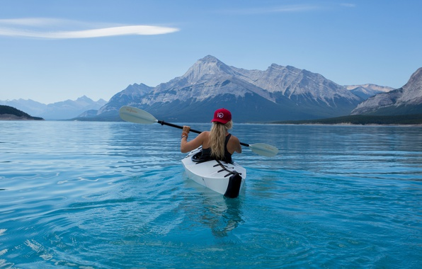 Picture girl, landscape, mountains, nature, lake, boat, Mike, blonde, cap, rowing, paddle, kayak