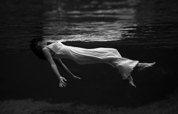 Picture water, girl, photo, creative, white, black and white, dress, swimming