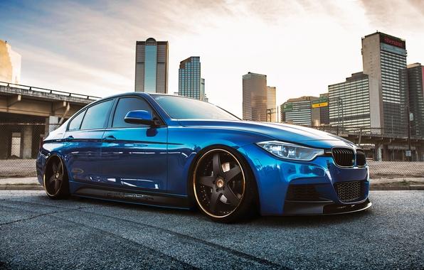 Picture BMW, blue, 335i, stance, f30, frontside