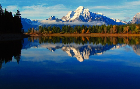 Picture autumn, the sky, clouds, trees, mountains, fog, lake, reflection, river, Wyoming, USA, grand teton national …
