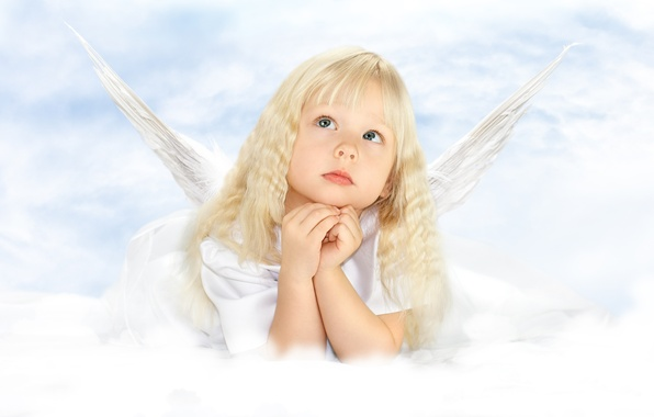Picture childhood, child, wings, angel, girl, beautiful, wings, beautiful, angel, child, childhood, little girl