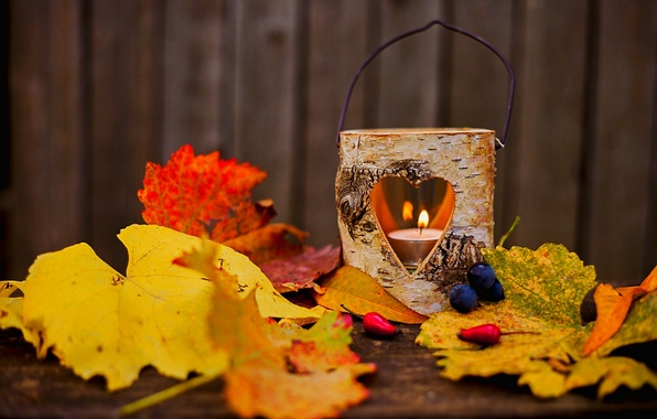 Picture autumn, leaves, love, flame, heart, lamp, lantern, flame, love, heart, autumn, leaves, lamp, candle, lantern, …