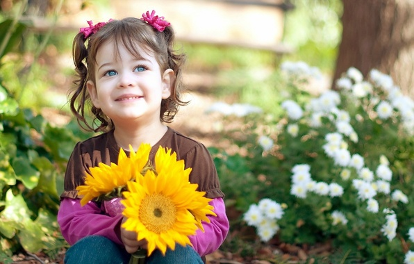 Picture look, leaves, joy, sunflowers, flowers, nature, children, face, smile, background, Wallpaper, mood, chamomile, girl, flowers, ...
