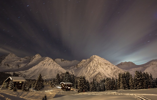 Picture winter, the sky, snow, trees, landscape, mountains, nature, home, stars, ate