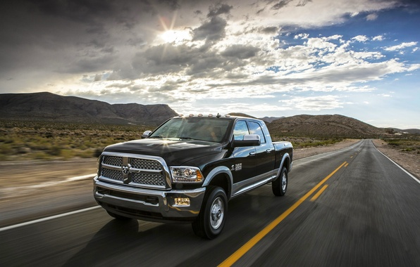Picture clouds, The sun, The sky, Road, Black, Machine, Day, Dodge, Pickup, Ram, Heavy Duty