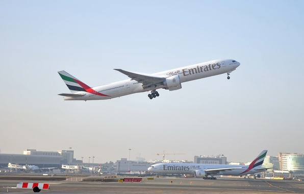 Picture the sky, flight, the plane, height, Boeing, Dubai, the rise, Boeing, jet, Emirates, UAE, bokeh, …