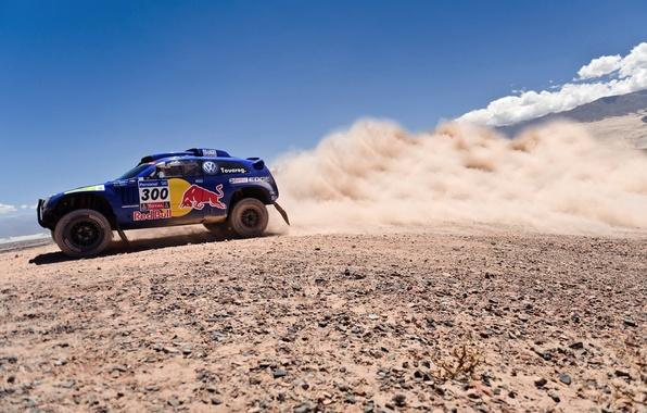 Picture The sky, Blue, Dust, Volkswagen, Red Bull, Touareg, Rally, Dakar, SUV